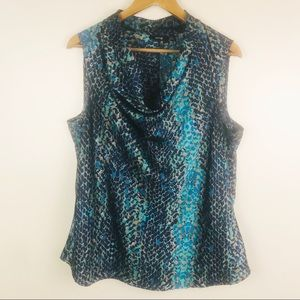 APT 9 Drape Neck Sleeveless Blouse Blue